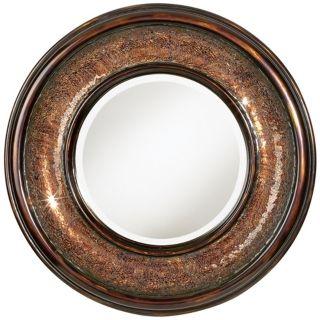 """Bronze Mosaic 36"""" Wide Round Wall Mirror   #T6803"""