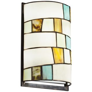 "Kichler Mihaela 12"" High Art Glass and Cut Stone Wall Sconce   #V9386"