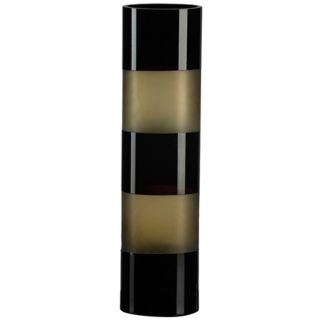 "Black and Amber 15 3/4"" High Art Glass Vase   #J0416"