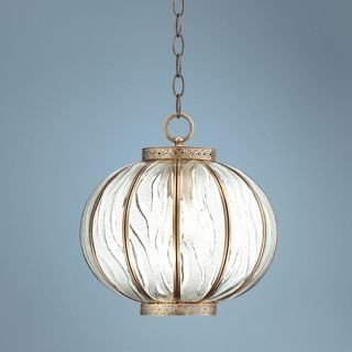 "Global Glass 12"" Wide Brass Mini Pendant Light   #W3266"