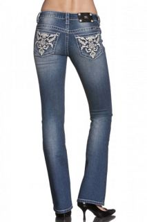 JP5510B Abstract Leather Flower Boot Cut Lowrise Stretch Jeans