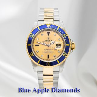 Stainless Steel & Gold Rolex Submariner Champagne Serti Dial with Blue
