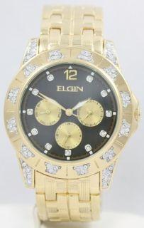 New Mens Elgin Gold Tone FG429 Austrain Crystals Black Dial
