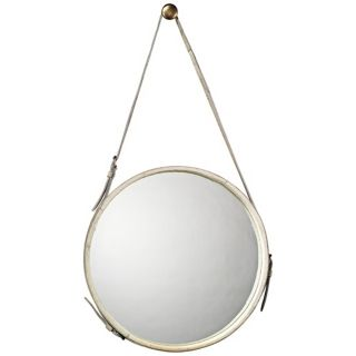 "Jamie Young White Leather Strap 29"" High Round Wall Mirror   #U3446"