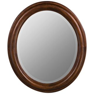 "Medium Walnut Finish Oval 30"" High Wall Mirror   #H9729"