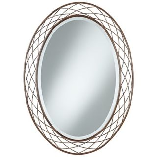 "Uttermost Basket Weave 36"" High Metal Oval Mirror   #V5682"