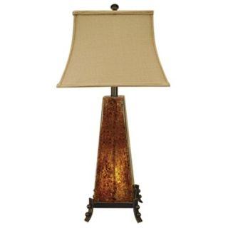 Cross Creek Dark Amber Rock Glass Night Light Table Lamp   #J1250