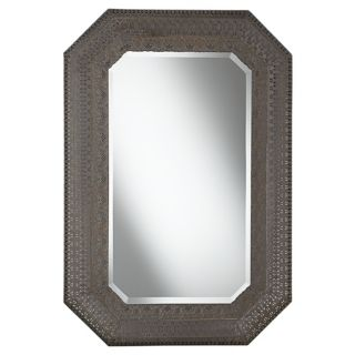 "Cut Corner Pounded Metal 37"" High Wall Mirror   #X3212"