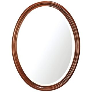 "Oxford Dark Oak 33 1/2"" High Oval Wall Mirror   #R8993"