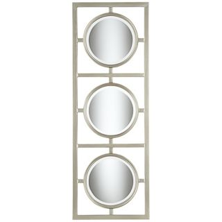 "Tryptic Silver Circle 48"" High Modern Wall Mirror   #W4091"