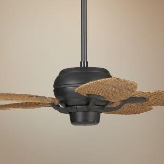 "52"" Casa Optima Matte Black Honey Rattan Blades Ceiling Fan   #73988 88828"