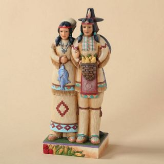 Jim Shore Harvest Thanksgiving Pilgrim Indian Two Sided Figurine