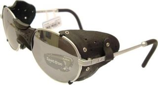 Julbo Drus Sunglasses Silver Frame Black Leather Side Shields Flash
