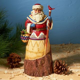 Jim Shore Heartwood Creek Christmas Figurine Lodge Santa with Cardinal
