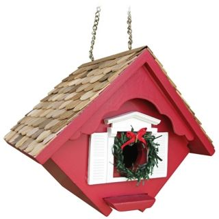 Red Christmas Wren Cottage Bird House   #M8807