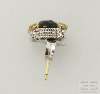 Judith Ripka Sterling Silver 18K Yellow Gold Onyx Diamond Earrings