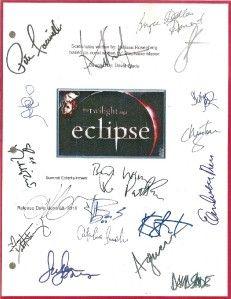 Twilight Eclipse Movie Script Signed 18x rpt Robert Pattinson Taylor