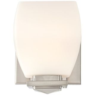 "Possini 5"" Wide Opal Glass Brushed Nickel Wall Sconce   #T6340"