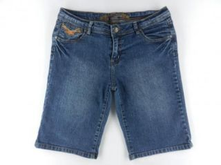 Miss Juli Bermuda Length Stretch Denim Blue Jeans Shorts Womens Sz 11