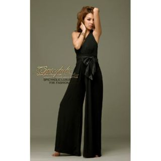 Sexy Ladies Leather Belt Jumpsuits Full Length Pants Black Pink Purple