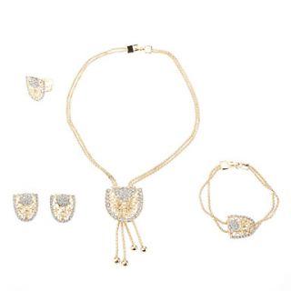 USD $ 11.89   Gold Plated Epaulet White Diamond Necklace Earring Ring