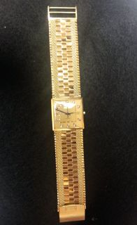 18K Gold Juvenia Macho Automatic 25 Jewel Diamond Dial Mens Watch