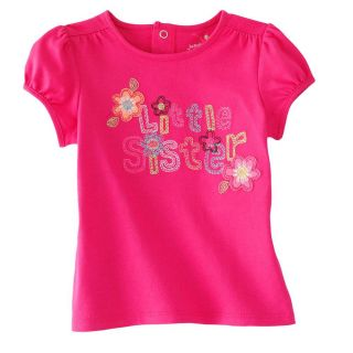New Jumping Beans Toddler Girl Pink Shirt Flowers Little Sister 2 3