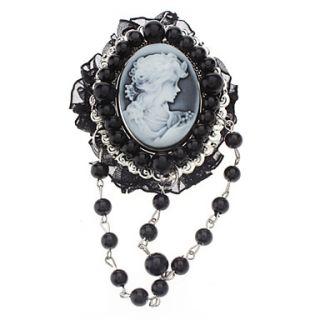 prachtige vintage reliëf hoofd portret zwarte parel broche