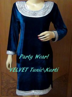 Designer Indian Blue Velvet White Stones Hand Work Kurta Kurti Free