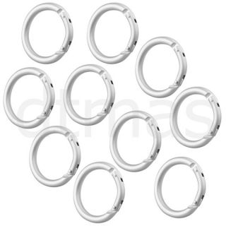 10 Silver Round Carabiner Camp Spring Snap Clip Hook Keychain Keyring