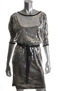 Karen Kane New Lifestyle Black Belted Sequin Cocktail Dress L BHFO