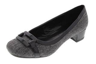 Karen Scott New Justis Black White Herringbone Block Heel Pumps Shoes