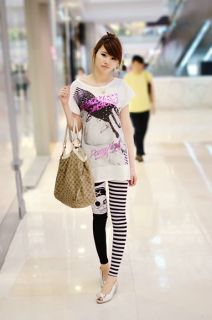 Hot Sell Women Individuality Head Skull Striped Leggings Tights Punk