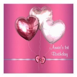 Pink Hear Balloons Girls 1s Birhday Pary Personalized Announcemen