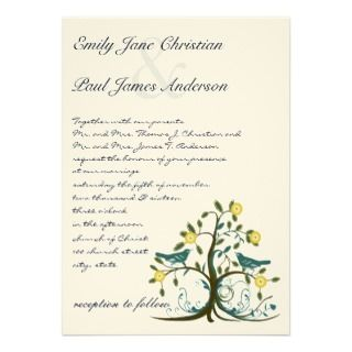Whimsical Teal & Yellow Bird Tree Wedding Invite