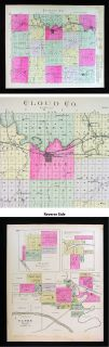 1887 Everts Kansas Map Cloud County Concordia Clyde Jamestown