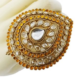 Jodha Akbar Style Kundan Polki Adjustable Ring Indian Traditional Wear
