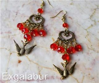Frida Kahlo Red Crystal Christmas Bird Dove Chandelier Gypsy Belly