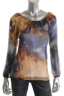 Karen Kane New Blue Printed Sheer Silk Scoop Neck Blouse Top XS BHFO