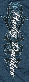 New Maui Harley Davidson Ladies Large Glitter Tribal Navy Blue Long