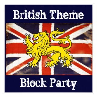 Vintage Union Jack British Block Party Invitation