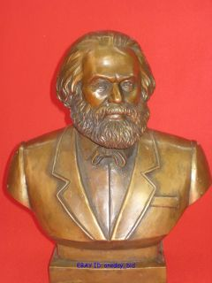 Large Karl Marx Bronze Statue Sculpture 11H