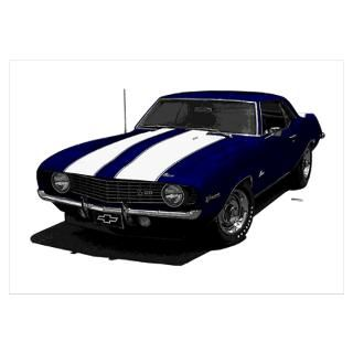 1969 Camaro Z28 Dark Blue & White Wall Art Poster