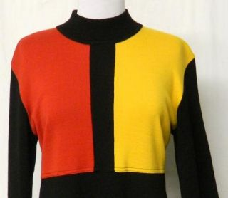 Karin Stevens Size L Black Colorblock Red Yellow Wool Blend Sweater