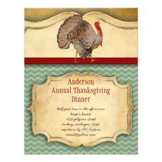 Thanksgiving Turkey Dinner Party Invitations