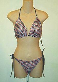Bloomingdales Aqua Brand $116 Multi Triangle Bikini LG