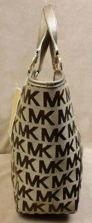 AUTHENTIC MICHAEL KORS KARLTON JACQUARD BROWN /KHAKI LARGE TOTE BAG