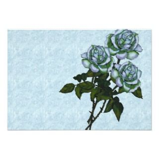 Three White Roses Color Pencil Art Floral Custom Announcement