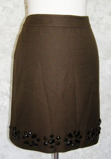 Ann Taylor Brown Jeweled Pencil Skirt 6P New Cotton Silk Fitted Beaded