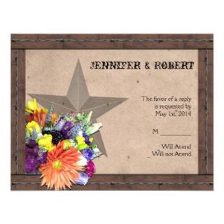 Country Western Barbed Wire Response Card Custom Invite